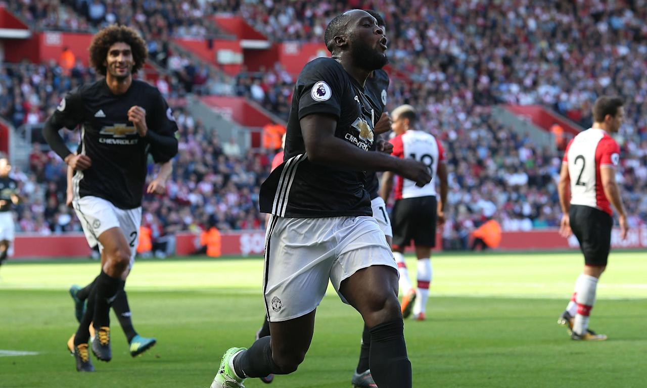 Romelu Lukaku of Manchester United celebrates scoring the only goal of the game against Southampton.