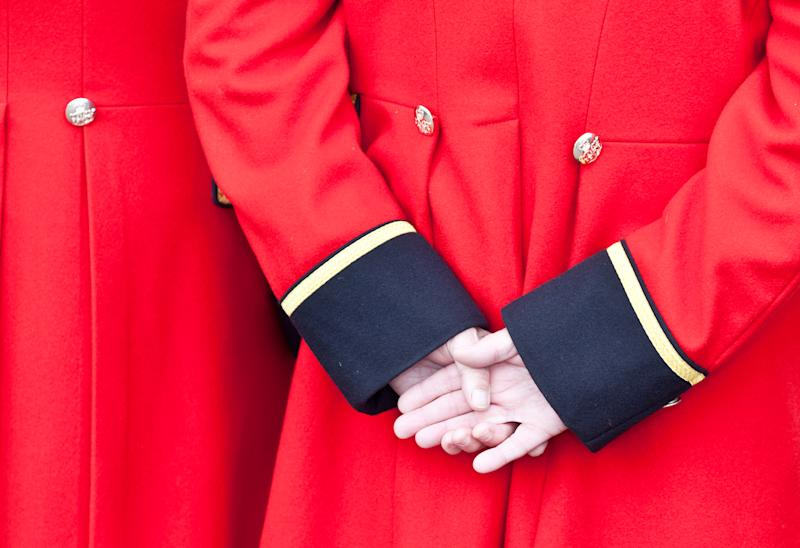 Hands and Uniform Chelsea Pensioner London UK.
