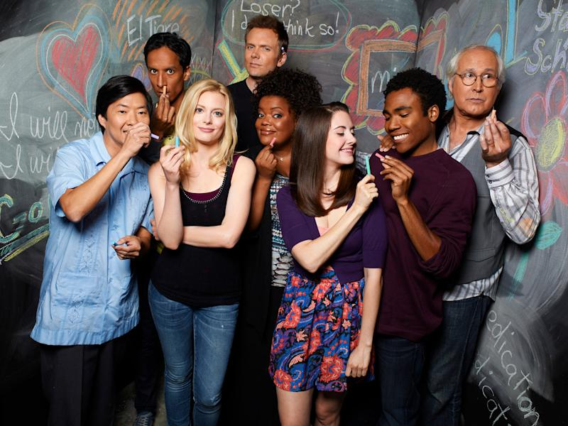 Ken Jeong as Senor Chang, Danny Pudi as Abed, Gillian Jacobs as Britta, Joel McHale as Jeff Winger, Yvette Nicole Brown as Shirley, Alison Brie as Annie, Donald Glover as Troy, Chevy Chase as Pierce in CommunityMitchell Haaseth / © NBC Universal, Inc.