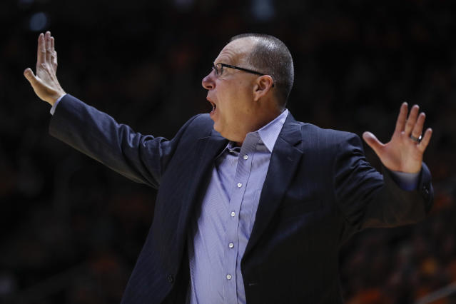 Jacksonville State head coach Ray Harper yells to his players during the second half of an NCAA college basketball game against Tennessee, Saturday, Dec. 21, 2019, in Knoxville, Tenn. Tennessee won 75-53. (AP Photo/Wade Payne)
