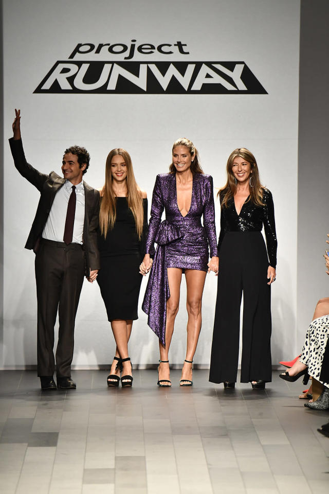 <p>Zac Posen, Jessica Alba, Heidi Klum and Nina Garcia walk the runway at the Project Runway fashion show during New York Fashion Week on September 8, 2017. (Photo by Frazer Harrison/Getty Images) </p>