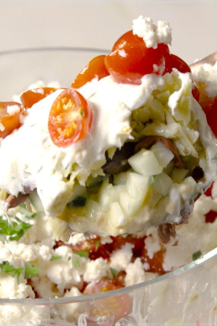 """<p>You'll never want to go back to Greek salads again.</p><p>Get the recipe from <a href=""""https://www.delish.com/cooking/recipe-ideas/recipes/a48179/7-layer-greek-dip-recipe/"""" rel=""""nofollow noopener"""" target=""""_blank"""" data-ylk=""""slk:Delish"""" class=""""link rapid-noclick-resp"""">Delish</a>.</p>"""