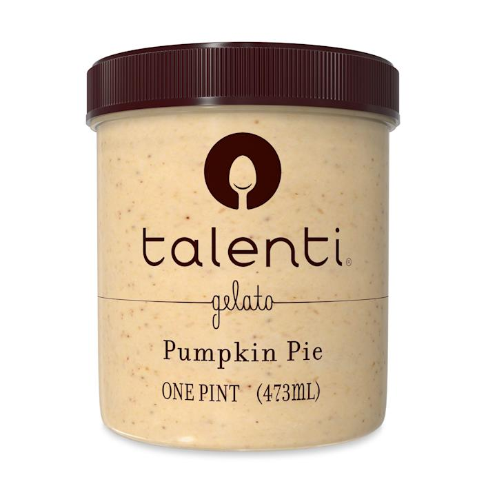 """<p><strong>Talenti</strong></p><p>walmart.com</p><p><strong>$3.42</strong></p><p><a href=""""https://go.redirectingat.com?id=74968X1596630&url=https%3A%2F%2Fwww.walmart.com%2Fip%2F54550424&sref=https%3A%2F%2Fwww.delish.com%2Ffood-news%2Fg22727687%2Ffall-foods-drinks-flavors%2F"""" rel=""""nofollow noopener"""" target=""""_blank"""" data-ylk=""""slk:Shop Now"""" class=""""link rapid-noclick-resp"""">Shop Now</a></p><p>Talenti just brought back its special batch Pumpkin Pie-flavored gelato and we couldn't be more excited. ICYMI, the festive pints have a brown sugar swirl and actual pie pieces inside. </p>"""