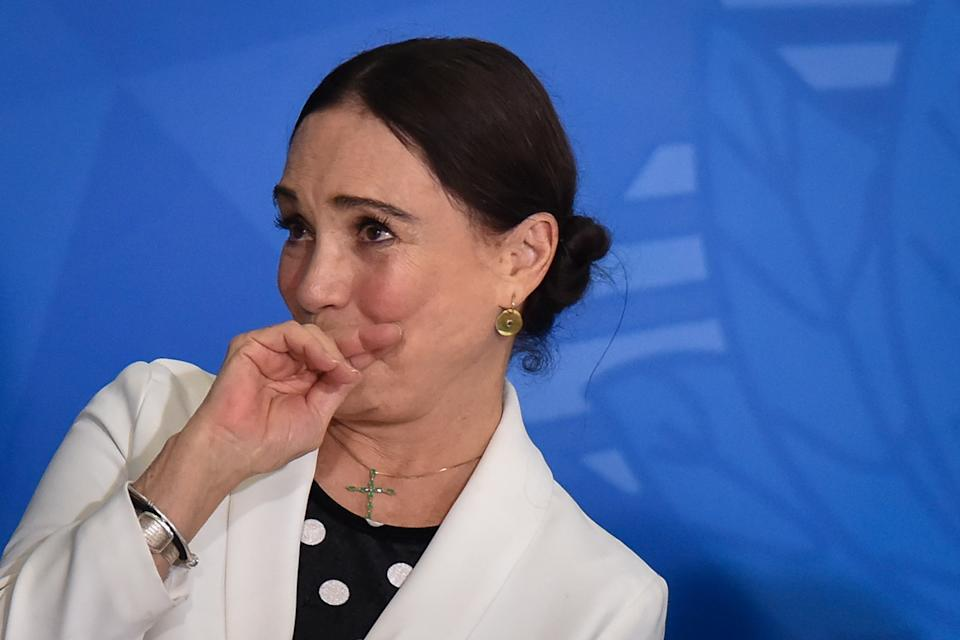 Famous Brazilian novel actress, Regina Duarte, reacts during her inauguration ceremony as new Brazil`s Culture Secretary, at the Planalto Palace in Brasília, Brazil on March 4, 2020.  (Photo by Andre Borges/NurPhoto via Getty Images)