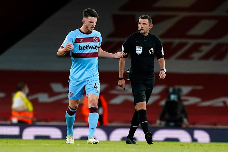 West Ham captain Declan Rice speaks to referee Michael Oliver Photo: Getty Images