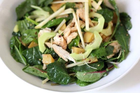 "<p>Baby kale, chicken, cucumbers, apple, sweet potatoes: this recipe is nutrient-packed and full of protein. Keep the component separate in your fridge and toss them together with the dressing when you're ready to eat.</p> <p><strong>Get the recipe:</strong> <a href=""https://www.popsugar.com/fitness/Baby-Kale-Sesame-Chicken-Salad-Recipe-32300510"" class=""ga-track"" data-ga-category=""Related"" data-ga-label=""https://www.popsugar.com/fitness/Baby-Kale-Sesame-Chicken-Salad-Recipe-32300510"" data-ga-action=""In-Line Links"">baby kale and sesame chicken salad</a></p>"