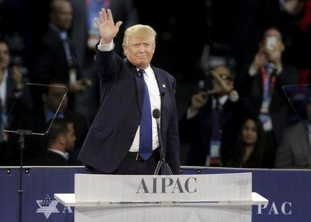 Republican U.S. presidential candidate Donald Trump waves after addressing the American Israel Public Affairs Committee (AIPAC) afternoon general session in Washington March 21, 2016.REUTERS/Joshua Roberts