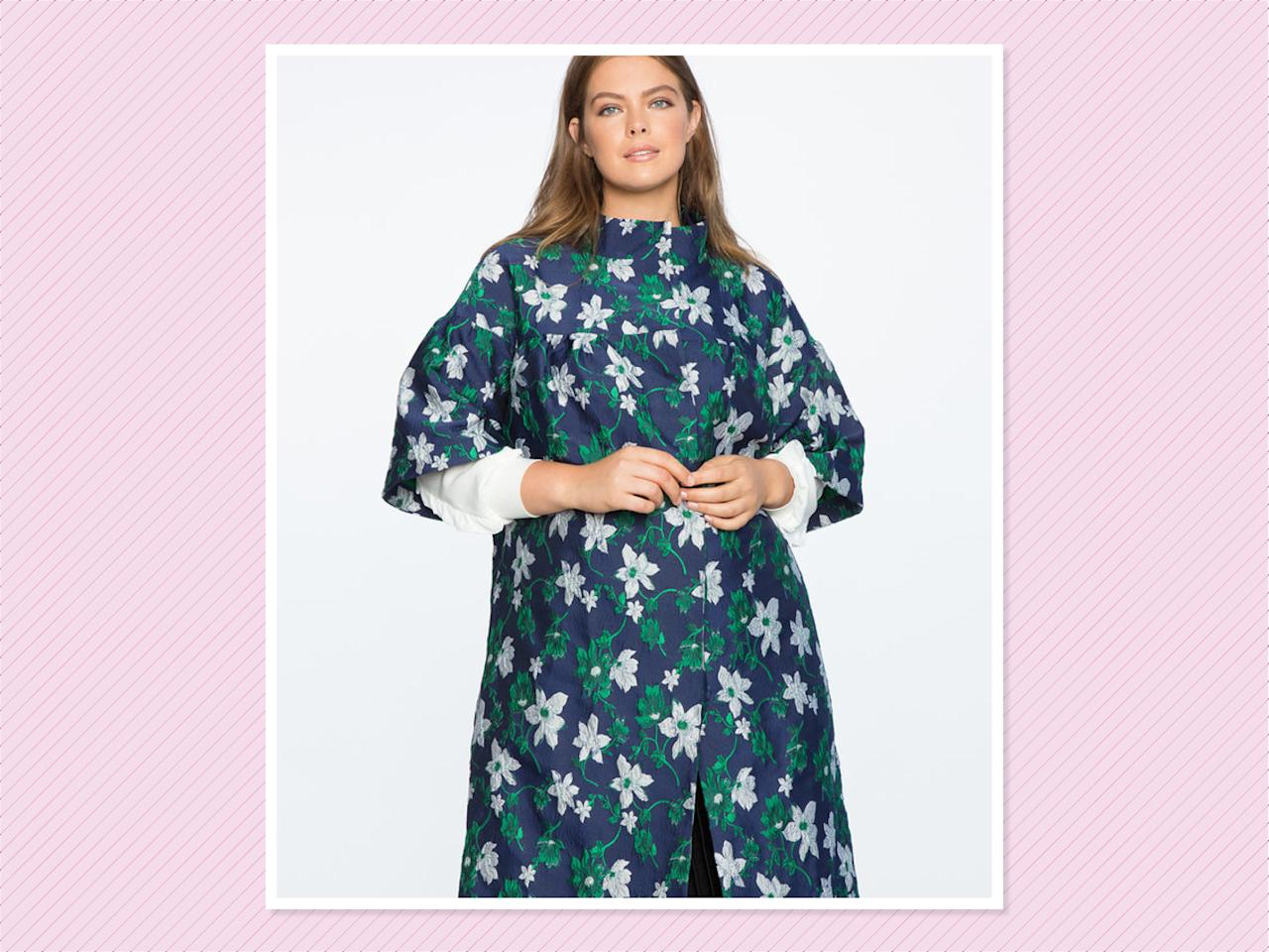 "<p>Flare Sleeve Jacquard coat, $160, <a rel=""nofollow"" href=""http://www.eloquii.com/flare-sleeve-jacquard-coat/1255073.html?cgid=outerwear&start=4&dwvar_1255073_colorCode=16"">Eloquii</a> (Photo: Eloquii) </p>"