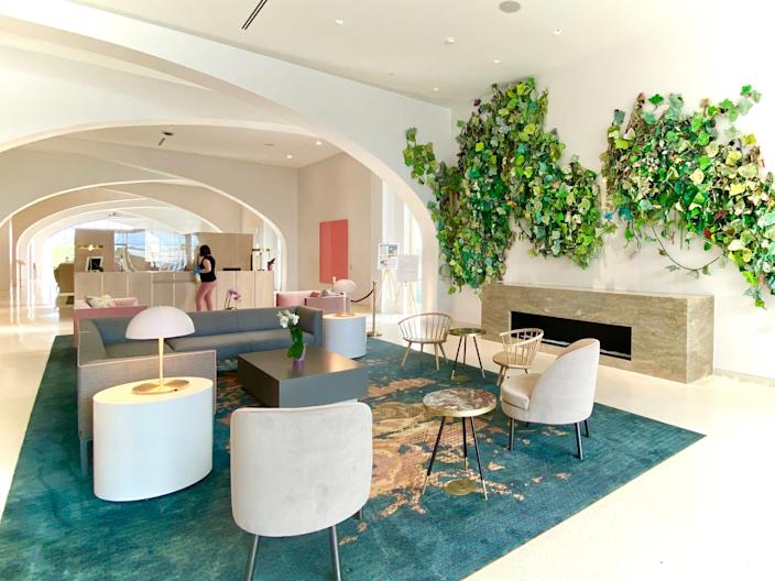 The lobby of the Quirk Hotel Charlottesville in Charlottesville, Virginia, during June 2020.