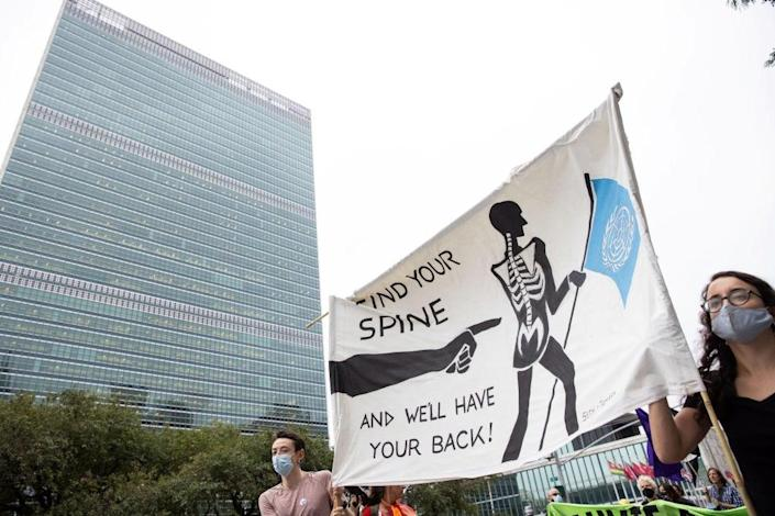 Extinction Rebellion staged a climate emergency protest outside the UN ahead of its general assembly  (Reuters)