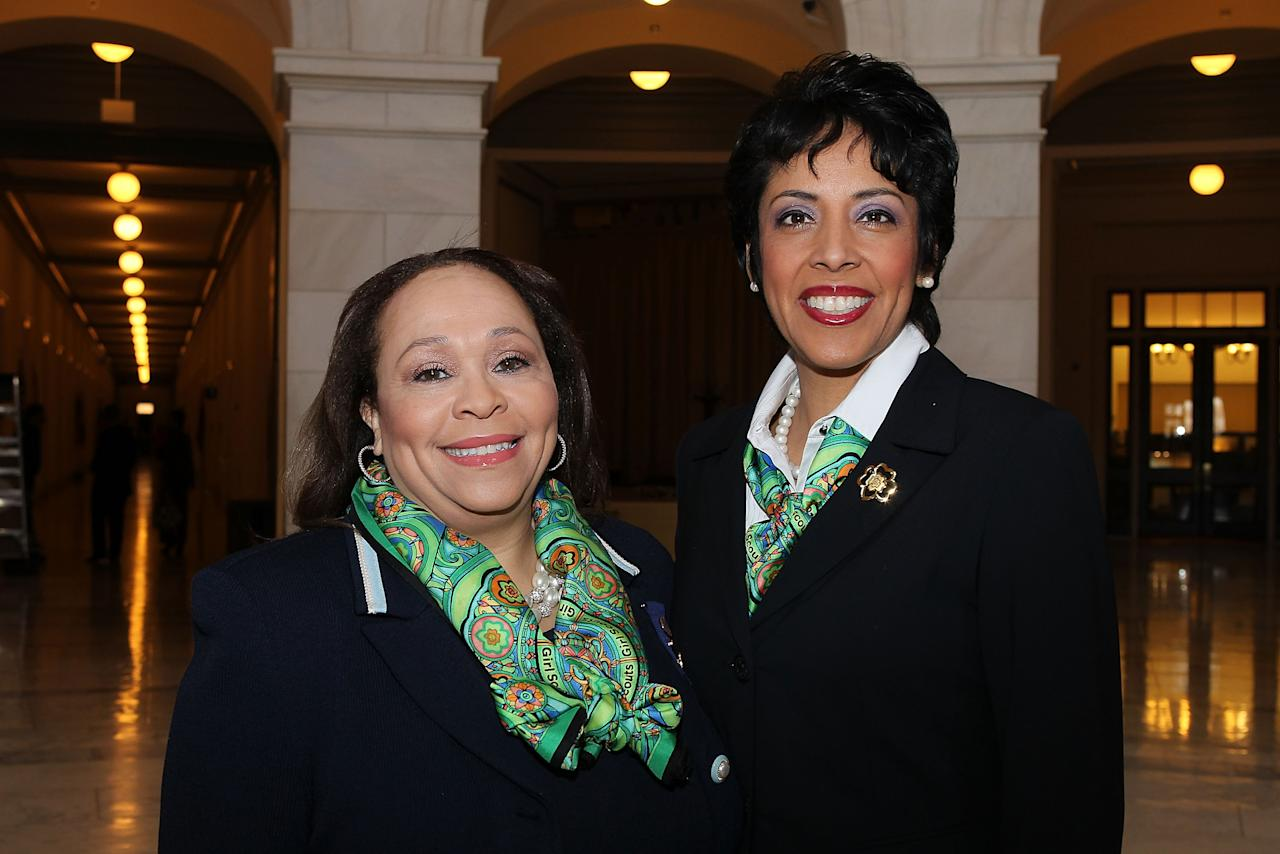 WASHINGTON, DC - FEBRUARY 01:  Connie L. Lindsey, National President, Girl Scouts of the USA, and Anna Maria Chavez, Chief Executive Officer of Girl Scouts of the USA, pose for a photo at Girl Scouts At 100: The Launch of ToGetHerThere at Capitol Hill Cannon House Office Bldg, Caucus Room on February 1, 2012 in Washington, DC.  (Photo by Paul Morigi/Getty Images for Girl Scouts of America)