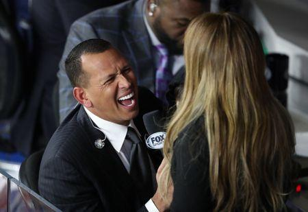 Oct 27, 2017; Houston, TX, USA; MLB former player Alex Rodriguez (left) with girlfriend Jennifer Lopez during game three of the 2017 World Series between the Houston Astros and the Los Angeles Dodgers at Minute Maid Park. Mandatory Credit: Matthew Emmons-USA TODAY Sports