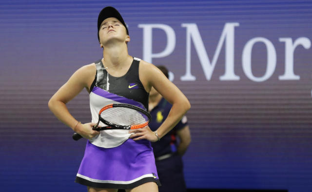 Elina Svitolina, of Ukraine, reacts after losing a point to Serena Williams, of the United States, during the semifinals of the U.S. Open tennis championships Thursday, Sept. 5, 2019, in New York. (AP Photo/Adam Hunger)