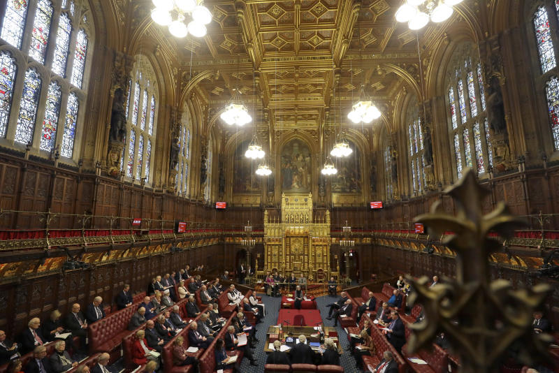A view inside the House of Lords as the European Withdrawal Agreement Bill is debated in London, Tuesday, Jan. 21, 2020. Britain's House of Lords is considering the European Withdrawal Agreement Bill, which is due to pass through its final stages before returning to the House of Commons. (AP Photo/Kirsty Wigglesworth, pool)