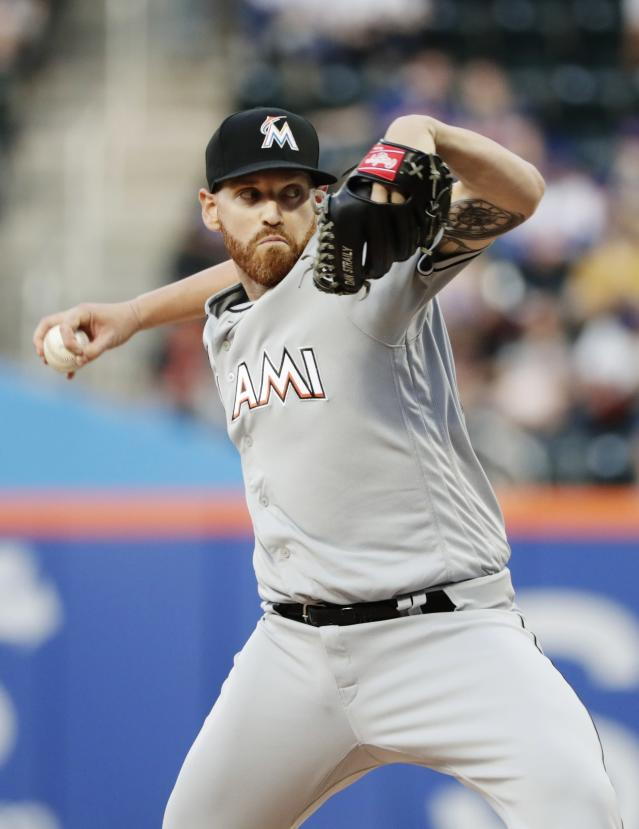 Miami Marlins' Dan Straily delivers a pitch during the first inning of a baseball game against the New York Mets Wednesday, May 23, 2018, in New York. (AP Photo/Frank Franklin II)