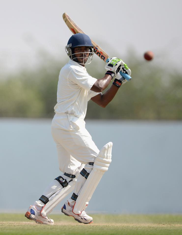 AHMEDABAD, INDIA - NOVEMBER 10:  Chanderpal Saini of Haryana bats during day three of the tour match between England and Haryana at Sardar Patel Stadium ground B on November 10, 2012 in Ahmedabad, India.  (Photo by Gareth Copley/Getty Images)