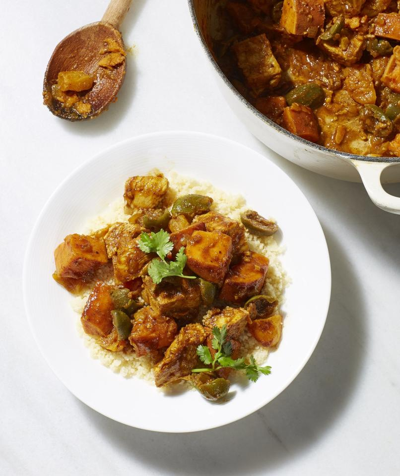 "<p>Yep, we just gave leftover turkey meat the tagine treatment. The warmth and fragrance of ginger, turmeric, coriander, and cinnamon make this stew so satisfying. Serve with couscous or rice to soak up all of the flavor.</p> <p> <strong>Get the recipe:</strong> <a href=""https://www.realsimple.com/food-recipes/browse-all-recipes/sweet-potato-turkey-tagine"" target=""_blank"">Sweet Potato and Turkey Tagine</a></p>"