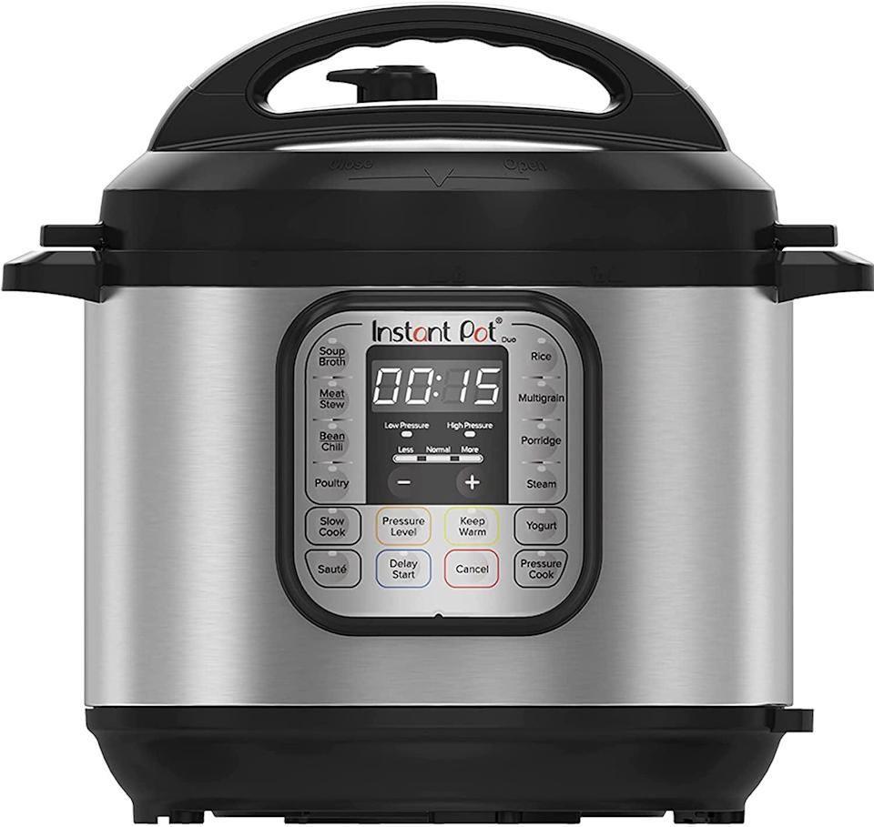"""<p>The <span>Instant Pot Duo 7-in-1 Electric Pressure Cooker</span> ($55, and up) combines seven appliances in one. It's a pressure cooker, slow cooker, rice cooker, steamer, sauté pan, food warmer, and yogurt maker. This is all you need, from meal prepping to hosting dinners. If you're new to cooking, this is a great option to have. It comes in all conditions from """"acceptable"""" to """"like new."""" </p>"""