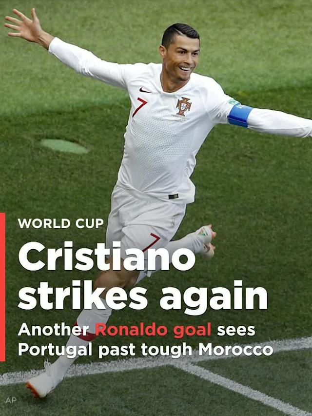 Cristiano Ronaldo sent Portugal more than halfway to the 2018 World Cup knockout stages with a 4th-minute header Wednesday against Morocco. It was his fourth goal of the tournament, and the only one of a 1-0 Portugal victory that eliminated the Atlas Lions, and sent Portugal to the top of Group B.