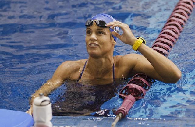 COLLEGE STATION, TX - MAY 20: Dara Torres warms up before swimming at the Texas Senior Circuit Long Course Meet #3 at Texas A&M University Student Recreation Center Natatorium on May 20, 2012 in College Station, Texas. Torres finished first in her Womens 50 LC Meter Freestyle prelim with a time of 25.78. (Photo by Bob Levey/Getty Images)