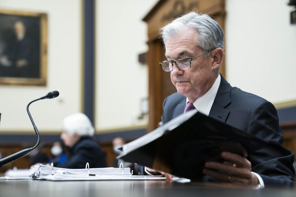 Federal Reserve Chairman Jerome Powell arrives for a House Financial Services Committee hearing Thursday, Sept. 30, 2021, on Capitol Hill in Washington. (Sarah Silbiger/Pool via AP)