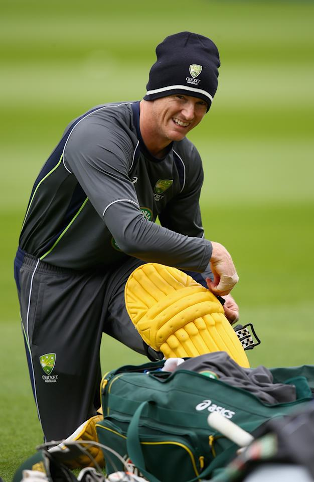 BIRMINGHAM, ENGLAND - SEPTEMBER 10:  George Bailey of Australia pads up during a net session ahead of the third NatWest One Day International Series match between England and Australia at Edgbaston on September 10, 2013 in Birmingham, England.  (Photo by Clive Mason/Getty Images)