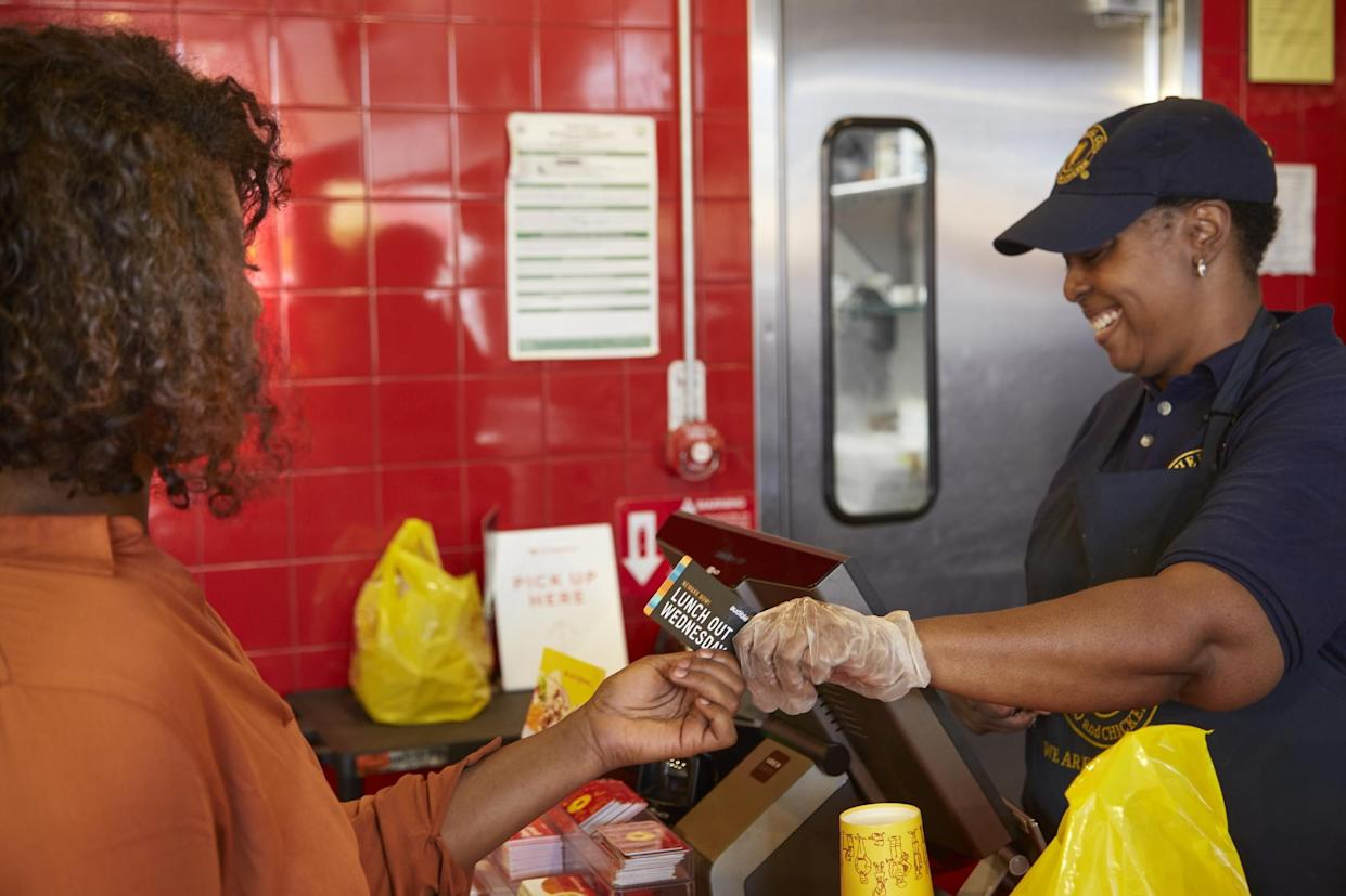 An Audible employee uses the company's Lunch Out Wednesdays to eat at a Newark establishment.