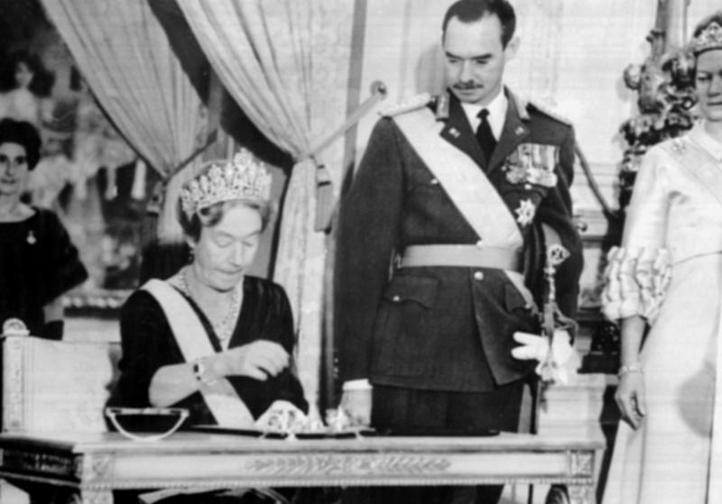 The Grand Duchess Charlotte of Luxembourg signs an abdication act in November 1964 in favour of her son, the Grand Duke Jean of Luxembourg. (AFP/Getty Images)