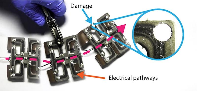 A soft robot with a stretchable and electrically conductive circuit that is self-healing. Image credit: Soft Machines Lab