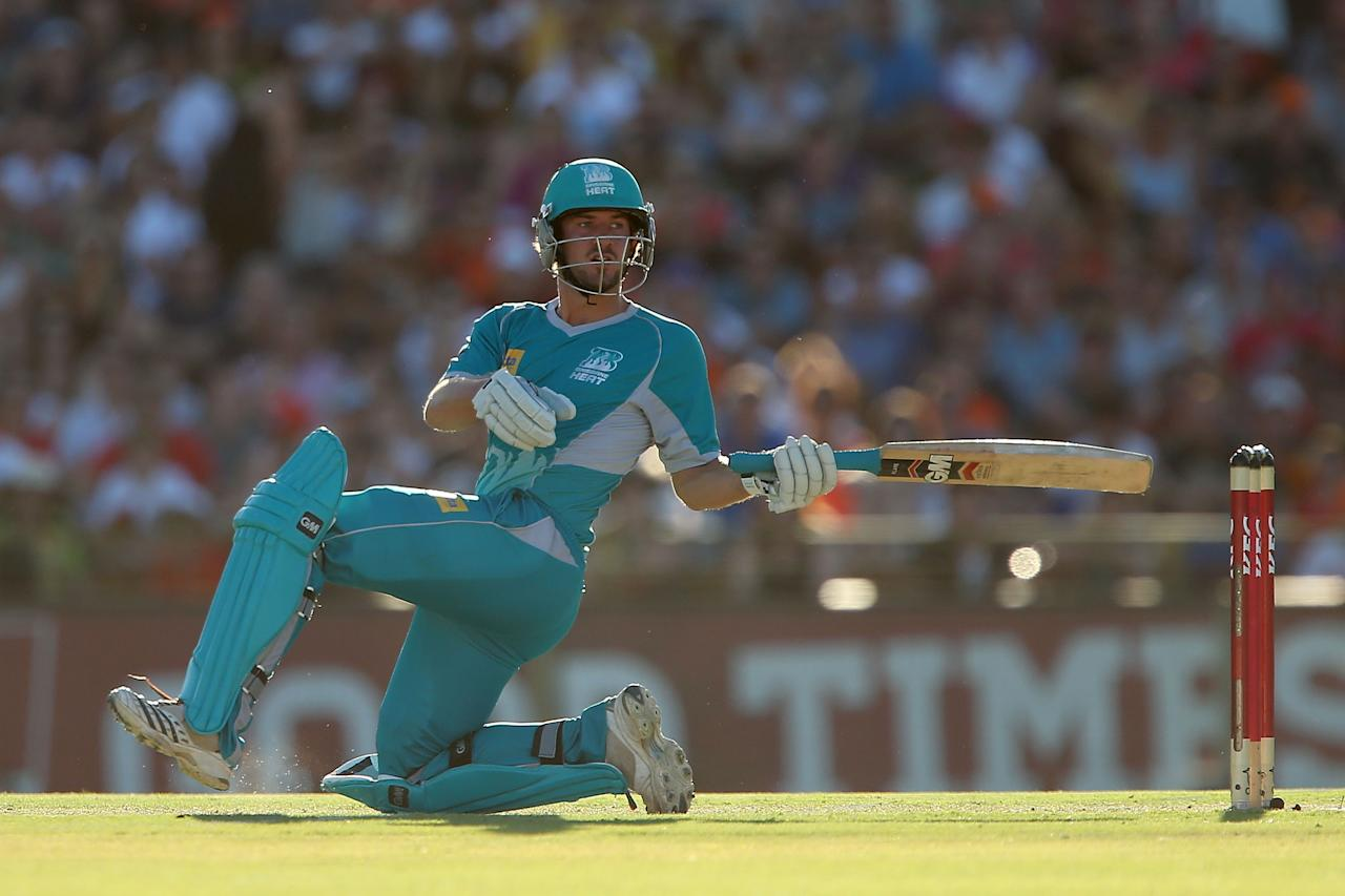 PERTH, AUSTRALIA - JANUARY 19:  Joe Burns of the Heat bats during the Big Bash League final match between the Perth Scorchers and the Brisbane Heat at the WACA on January 19, 2013 in Perth, Australia.  (Photo by Paul Kane/Getty Images)