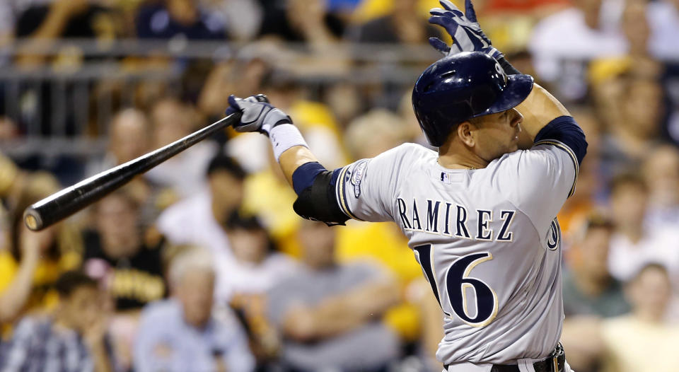 Milwaukee Brewers' Aramis Ramirez hits a double to drive in two runs during the fifth inning of a baseball game against the Pittsburgh Pirates on Tuesday, Aug. 27, 2013, in Pittsburgh. (AP Photo/Keith Srakocic)