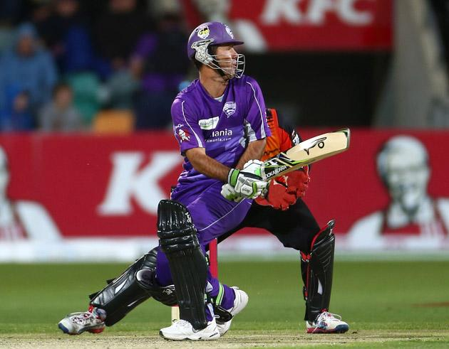 Ricky Ponting of the Hurricanes hits out during the Big Bash League match between the Hobart Hurricanes and the Perth Scorchers at Blundstone Arena on January 1, 2013 in Hobart, Australia.  (Photo by Robert Cianflone/Getty Images)