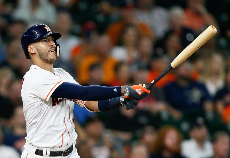 Carlos Correa wasn't happy with Blue Jays closer Roberto Osuna for showing him up. (Getty Images)