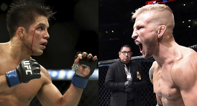 Henry Cejudo (L) vs. T.J. Dillashaw headlines the first UFC on ESPN+ card on Jan. 19. (Getty Images)