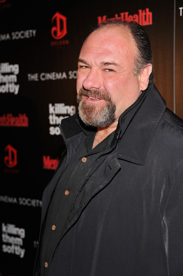 """NEW YORK, NY - NOVEMBER 26:  Actor James Gandolfini attends The Cinema Society with Men's Health and DeLeon hosted screening of The Weinstein Company's """"Killing Them Softly"""" on November 26, 2012 in New York City.  (Photo by Stephen Lovekin/Getty Images)"""