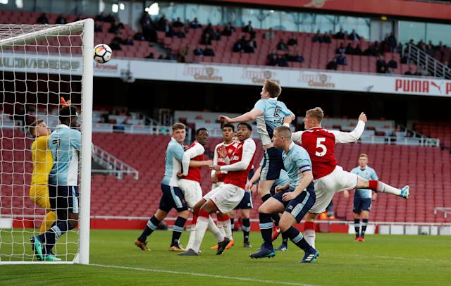 Soccer Football - FA Youth Cup Semi Final Second Leg - Arsenal vs Blackpool - Emirates Stadium, London, Britain - April 16, 2018 Arsenal's Danny Bullard scores their second goal Action Images/Matthew Childs