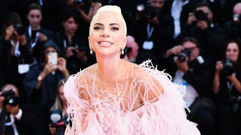 14a026a8f07b0 Lady Gaga Is a Walking Fairy Tale at Venice Film Festival in Feathery Pink  Valentino Dress
