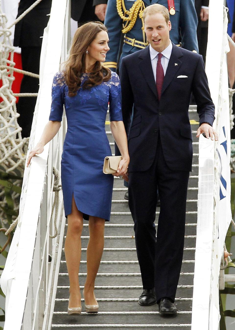 <p>Kate chose a royal blue Erdem dress for a trip to Montreal, accessorising with L.K. Bennett heels. </p><p><i>[Photo: PA]</i></p>