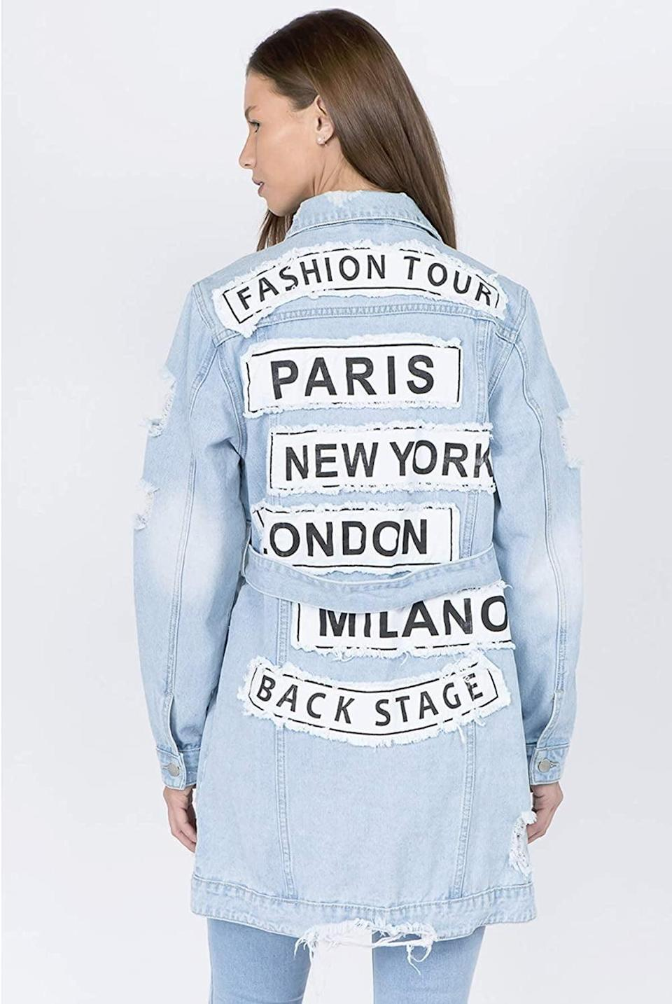 <p>Style this <span>Mireille M. Denim Fashion Tour Distressed Long Jacket</span> ($170) with a cute belt or wear it oversized. Either, way you're going to look chic!</p>