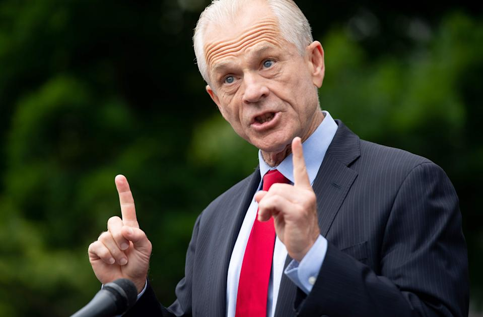 (FILES) In this file photo White House Trade Advisor Peter Navarro speaks to the press about former National Security Advisor John Bolton's upcoming book release, outside of the White House in Washington, DC, on June 18, 2020. - A top White House official said he expected President Trump to act firmly against the TikTok and WeChat social media apps, prompting an angry response from China on July 13, 2020. China dismissed White House trade advisor Peter Navarro's comments as