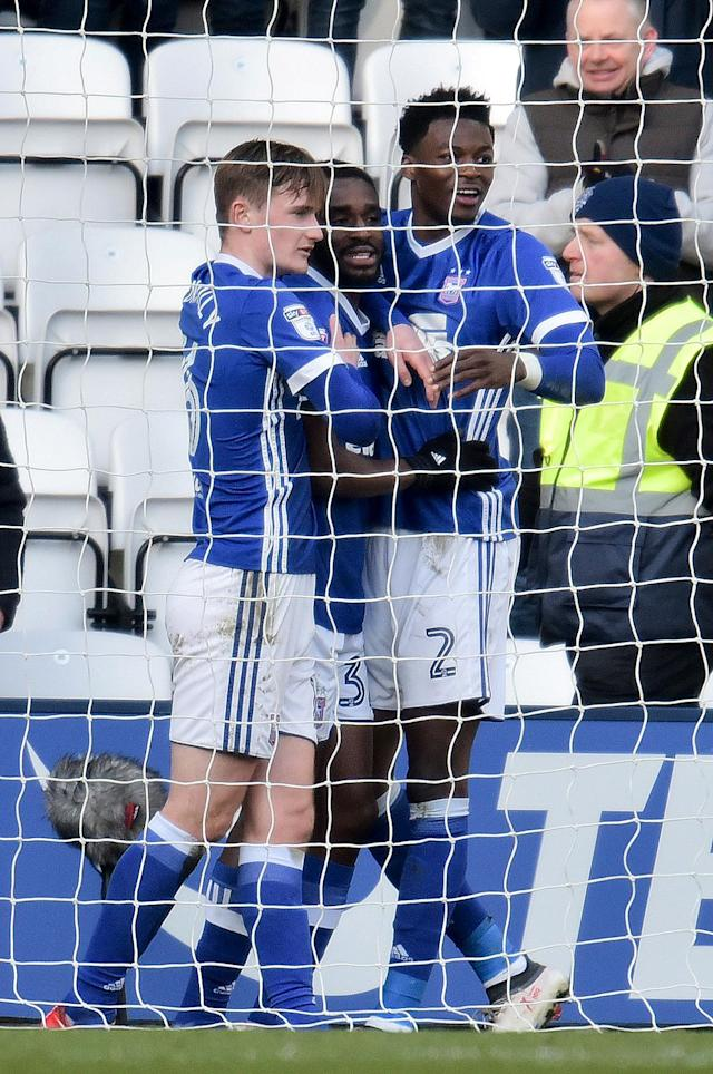 """Soccer Football - Championship - Preston North End vs Ipswich Town - Deepdale, Preston, Britain - February 24, 2018 Ipswich Town's Mustapha Carayol celebrates scoring their first goal with teammates Action Images/Paul Burrows EDITORIAL USE ONLY. No use with unauthorized audio, video, data, fixture lists, club/league logos or """"live"""" services. Online in-match use limited to 75 images, no video emulation. No use in betting, games or single club/league/player publications. Please contact your account representative for further details."""