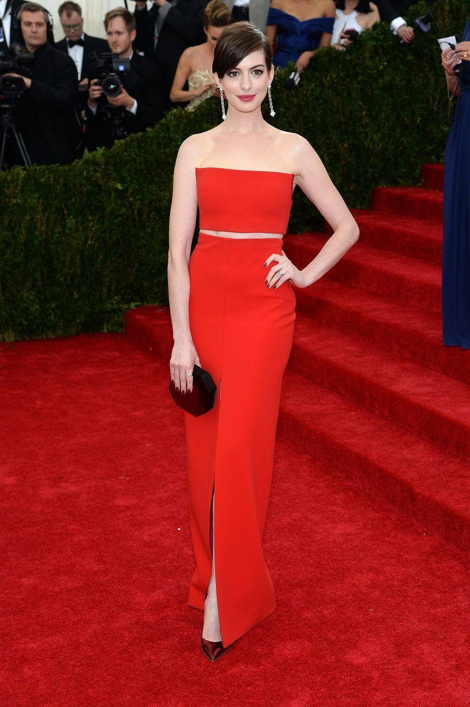 <p>While the clean lines of Anne Hathaway's 2014 Met Gala ensemble are a little bit more modern than Jasmine's look, it's still pretty reminiscent of the Disney princess's getup.</p>