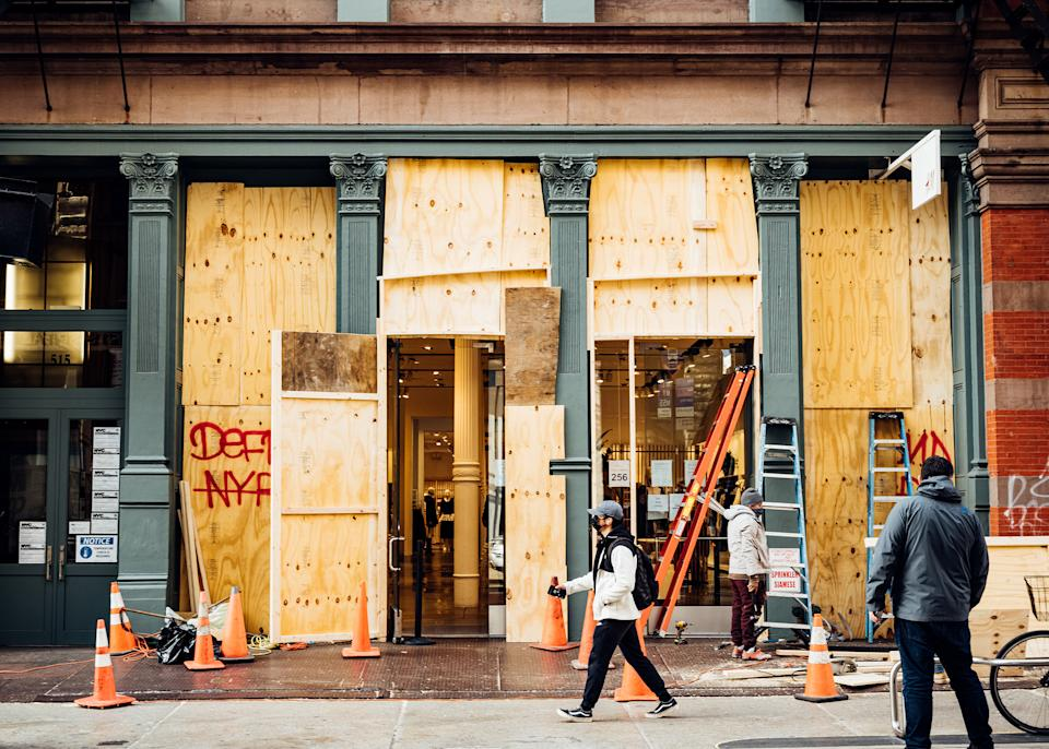 "Businesses board up their windows in New York City on Nov. 3, 2020.<span class=""copyright"">Malike Sidibe for TIME</span>"