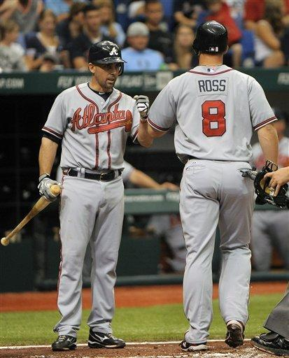 Atlanta Braves' David Ross, right, celebrates his solo home run with teammate Jack Wilson during the third inning of an interleague baseball game against the Tampa Bay Rays, Sunday, May 20, 2012, in St. Petersburg, Fla. (AP Photo/Brian Blanco)