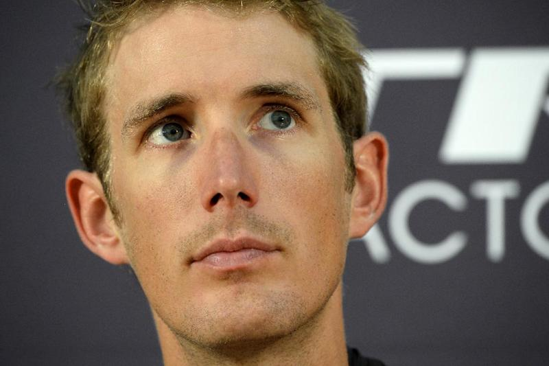 Luxembourg's Andy Schleck takes part in a press conference of the USA's Trek Factory cycling team on July 3, 2014 at the press centre in Leeds, England, before the start of the 101st Tour de France