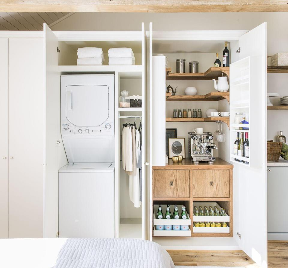 "<p>If you have a common area closet that's haphazardly filled with items the family rarely touches, put those items in deeper storage and maximize the space by creating extra kitchen—or entertaining—storage. </p><p>Here, Houston-based designer <a href=""https://marieflanigan.com/"" rel=""nofollow noopener"" target=""_blank"" data-ylk=""slk:Marie Flanigan"" class=""link rapid-noclick-resp"">Marie Flanigan</a> turns this guest house closet into the ultimate mini bar:an espresso machine, a few bottles of vino, some favorite varieties of sparkling water, and a few other items in need of a home feel oh-so-hospitable and make for a satisfying organizational project. </p>"