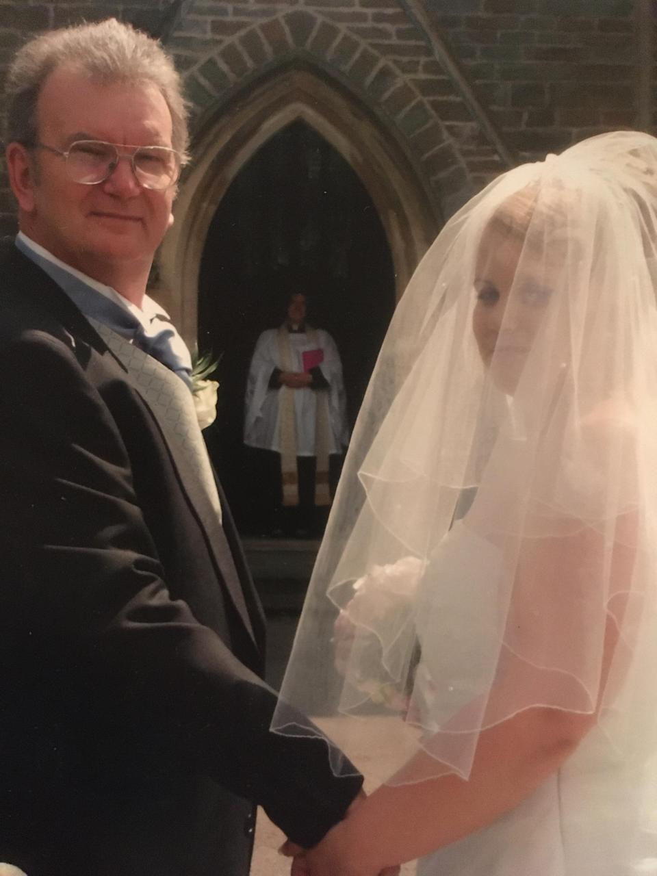 Rebecca with her dad at her wedding in 2004