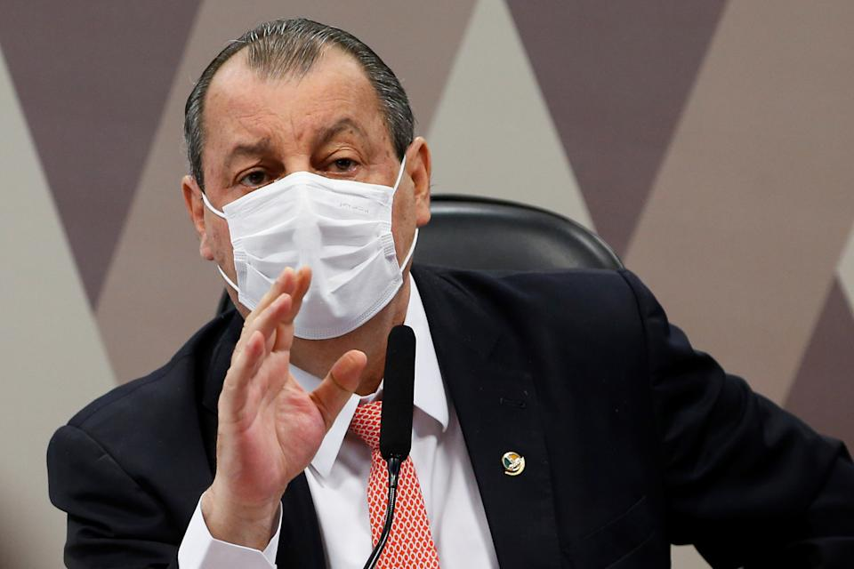 Brazilian Senator Omar Aziz attends a meeting of the Parliamentary Inquiry Committee (CPI) to investigate government actions and management during the coronavirus disease (COVID-19) pandemic, at the Federal Senate in Brasilia, Brazil July 6, 2021. REUTERS/Adriano Machado