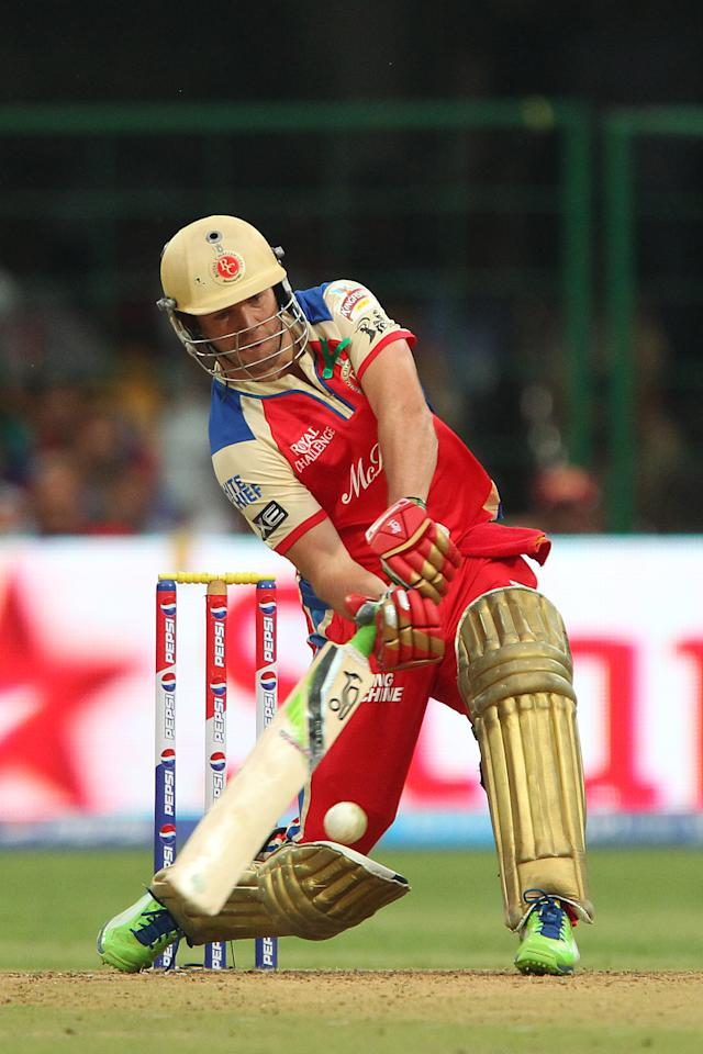 Ab de Villiers during match 31 of the Pepsi Indian Premier League between The Royal Challengers Bangalore and The Pune Warriors India held at the M. Chinnaswamy Stadium, Bengaluru  on the 23rd April 2013..Photo by Ron Gaunt-IPL-SPORTZPICS ..Use of this image is subject to the terms and conditions as outlined by the BCCI. These terms can be found by following this link:..https://ec.yimg.com/ec?url=http%3a%2f%2fwww.sportzpics.co.za%2fimage%2fI0000SoRagM2cIEc&t=1500930224&sig=.5mK3I8oUeuwwdVejdJMFQ--~C