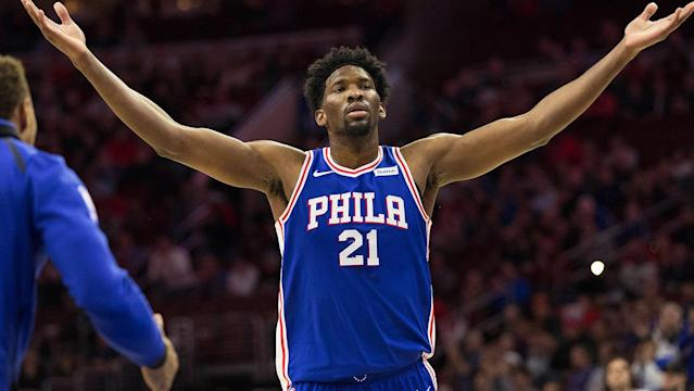 "<a class=""link rapid-noclick-resp"" href=""/nba/players/5294/"" data-ylk=""slk:Joel Embiid"">Joel Embiid</a> played a career-high 30 minutes as the Sixers overcame a blown lead to beat the Hawks, 119-109, for their first home win."